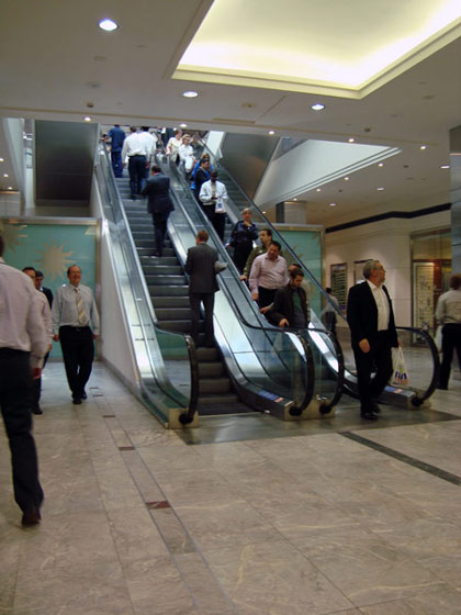 backwards escalator